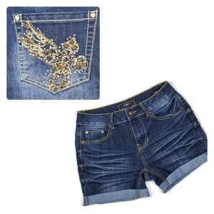 Cato | Jean Shorts Dark Wash Embellished Stretch